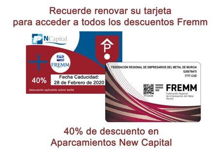 Renovación de la tarjeta de descuento de los parking New Capital de Murcia