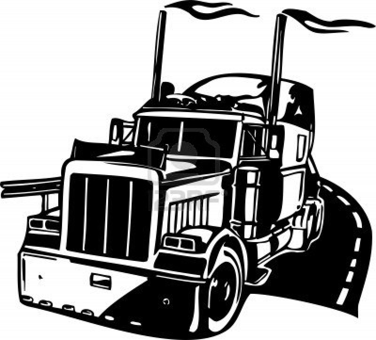 18 Wheeler Truck Vector: Semi Truck Clip Art Black and White, Semi ...
