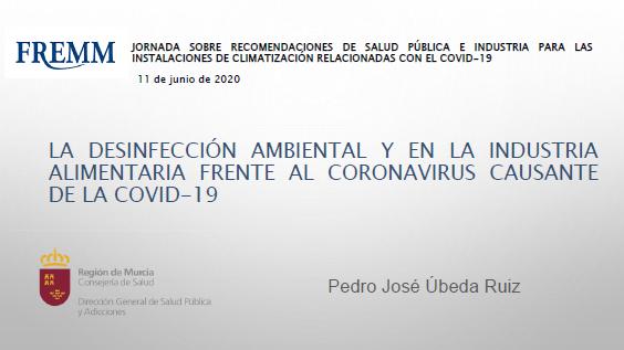 Jornada Virtual La Desinfección Ambiental y la industria alimentaria, frente al coronavirus causante de la Covid 19