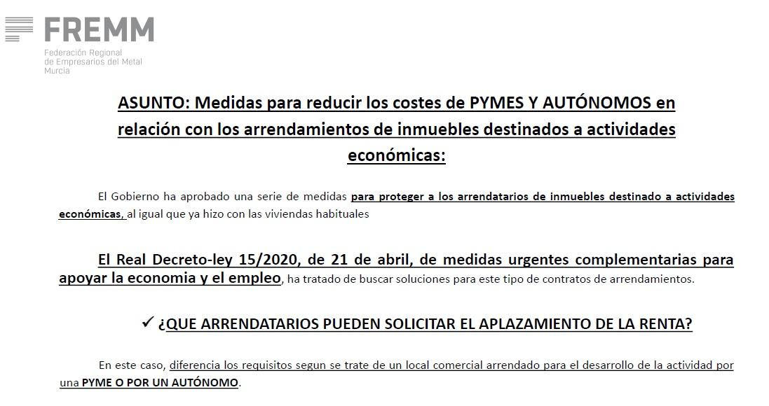 Medidas para reducir los costes de PYMES Y AUTÓNOMOS en relación con los arrendamientos de inmuebles destinados a actividades económicas 04/05/2020