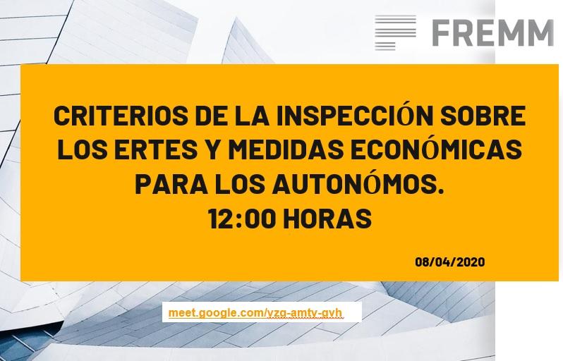"""Documentación Videoconferencia """"Criterios de Inspeccion sobre los ERTES y Medidas Economicas para los Autonomos"""""""
